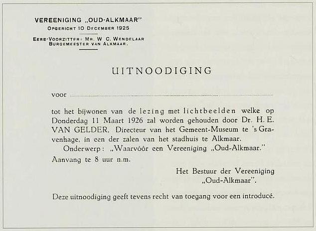 Eerste lezing 11 maart 1926
